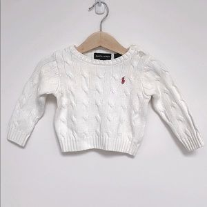 Ralph Lauren Cable-Knit Cotton Cardigan 9-12M